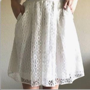 Anthropologie Maeve white lace skirt